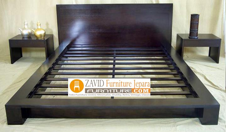 tempat tidur kayu jati desain minimalis - Tempat Tidur Jakarta Minimalis Jati Solid Modern