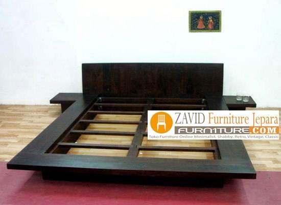 tempat tidur minimalis kayu jati - Tempat Tidur Jakarta Minimalis Jati Solid Modern