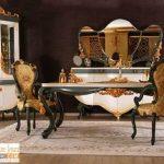 Set Kursi Makan Mewah Malang Ukiran Emas