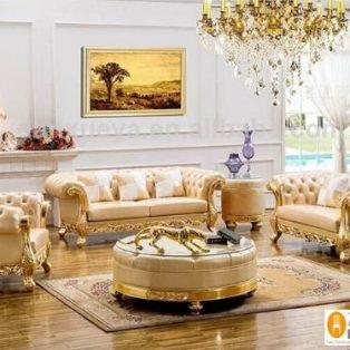 Set Meja Kursi Tamu Mewah Jakarta Victorian Gold