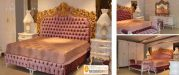 Tempat Tidur Mewah Ukiran Emas Queen Size