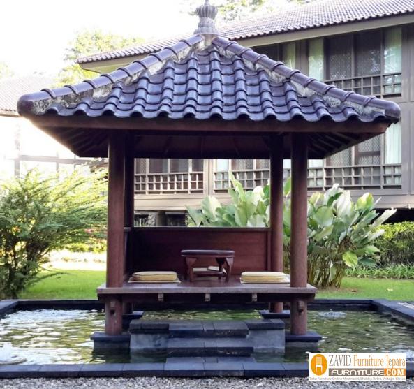 Gazebo-Minimalis-Modern-di-atas-kolam 79+ Gazebo Minimalis Sederhana Kayu Jati Harga Murah Desain Terbaru