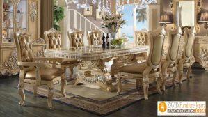 Set Meja Makan Mewah Eropa Ukiran Glossy