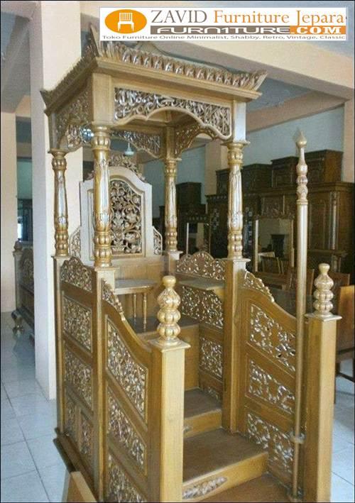 mimbar kubah bandung kayu jati - Jual Mimbar Masjid Bandung Model Kubah Ukiran Kayu Jati