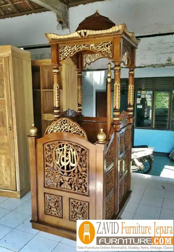mimbar masjid bandung kubah - Jual Mimbar Masjid Bandung Model Kubah Ukiran Kayu Jati