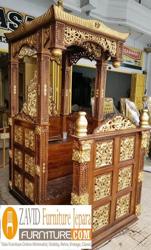 mimbar masjid kubah bandung - Jual Mimbar Masjid Bandung Model Kubah Ukiran Kayu Jati