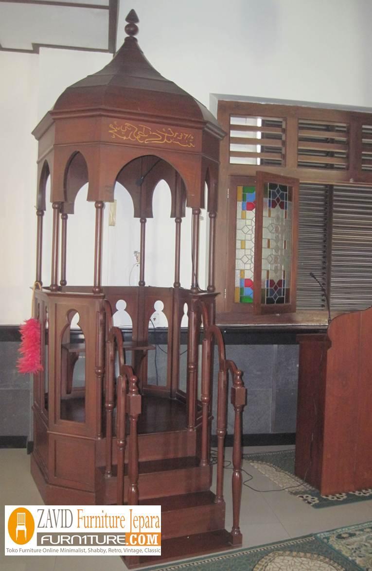 mimbar-masjid-kubah Jual Mimbar Masjid Bandung Model Kubah Ukiran Kayu Jati