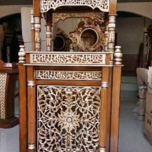 Jual Mimbar Masjid Bandung Model Kubah Ukiran Kayu Jati
