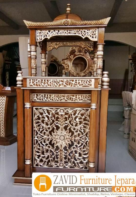 mimbar masjid ukiran bandung kubah - Jual Mimbar Masjid Bandung Model Kubah Ukiran Kayu Jati