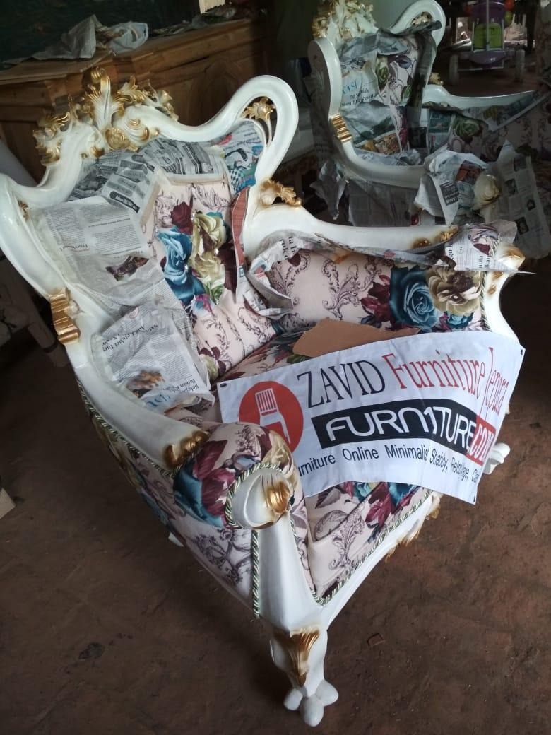 Jual Kursi Tamu mewah ukiran duco putih - Set Kursi Tamu Mewah Ukiran Klasik Duco Putih