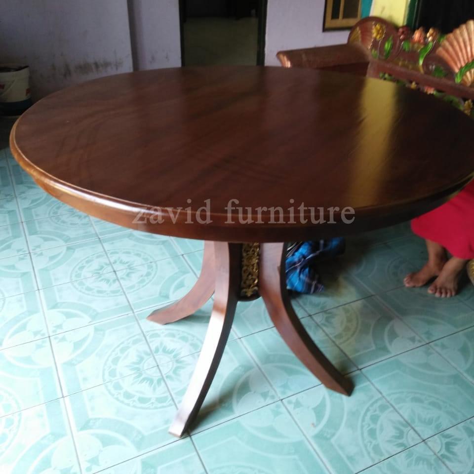 Jual-meja-makan-bulat-kayu-jati Jual Meja Makan Bulat/Bundar Kayu Jati 4 dan 6 kursi Terbaru