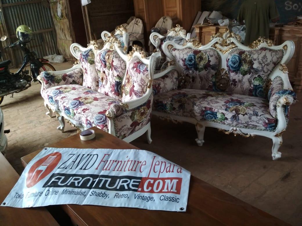 Kursi Tamu Mewah Duco Ukiran - Set Kursi Tamu Mewah Ukiran Klasik Duco Putih