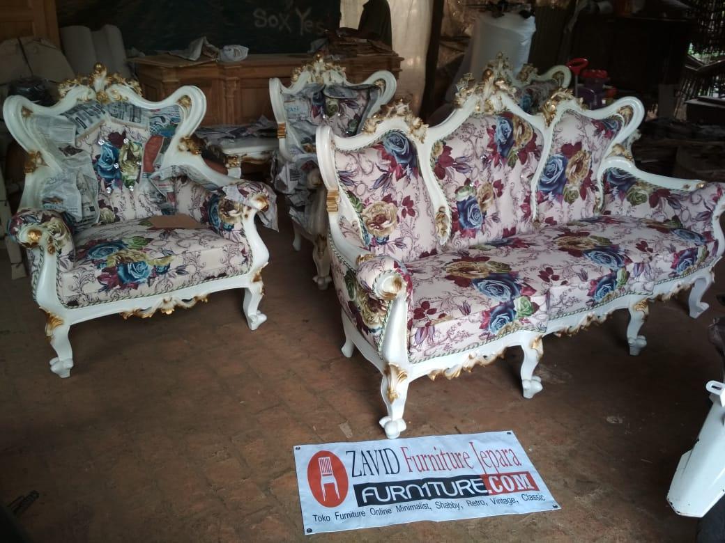 Kursi Tamu Mewah Ukiran Klasik Duco - Set Kursi Tamu Mewah Ukiran Klasik Duco Putih