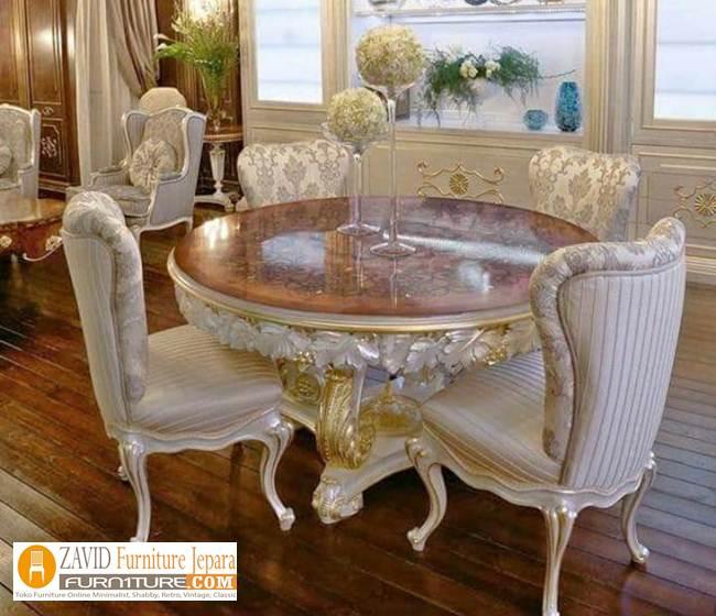 Meja-Makan-Bundar-Mewah-Ukiran Jual Meja Makan Bulat/Bundar Kayu Jati 4 dan 6 kursi Terbaru