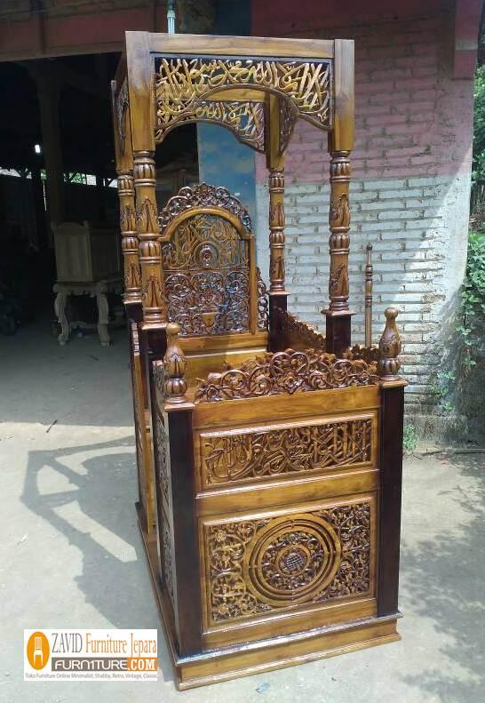 Mimbar-Masjid-Jogja-Ukiran-Kaligrafi-Kayu-Jati Mimbar Masjid Jogja Ukiran Kaligrafi Kayu Jati