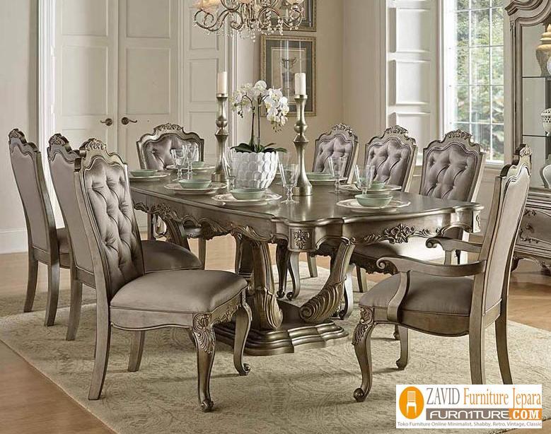 Set-Meja-Kursi-Makan-Mewah-Klasik 29+ Meja Makan Klasik Mewah Ukiran Modern