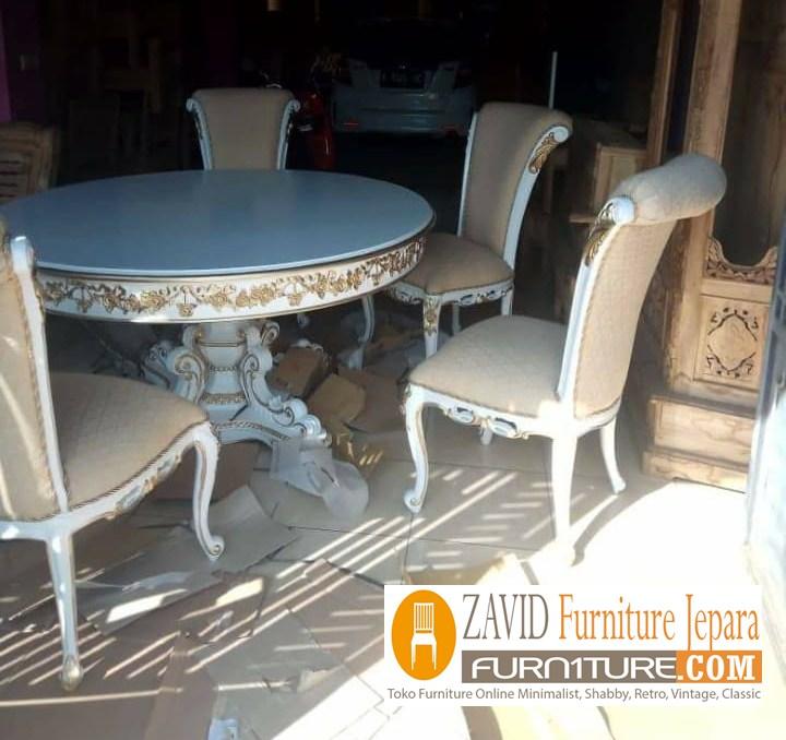 meja-makan-bundar-realpict Jual Meja Makan Bulat/Bundar Kayu Jati 4 dan 6 kursi Terbaru