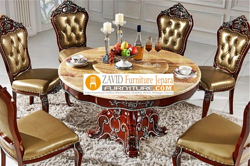 meja-makan-moder Jual Meja Makan Bulat/Bundar Kayu Jati 4 dan 6 kursi Terbaru