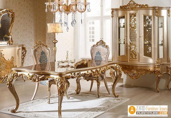 set-meja-makan-klasik-mewah 29+ Meja Makan Klasik Mewah Ukiran Modern