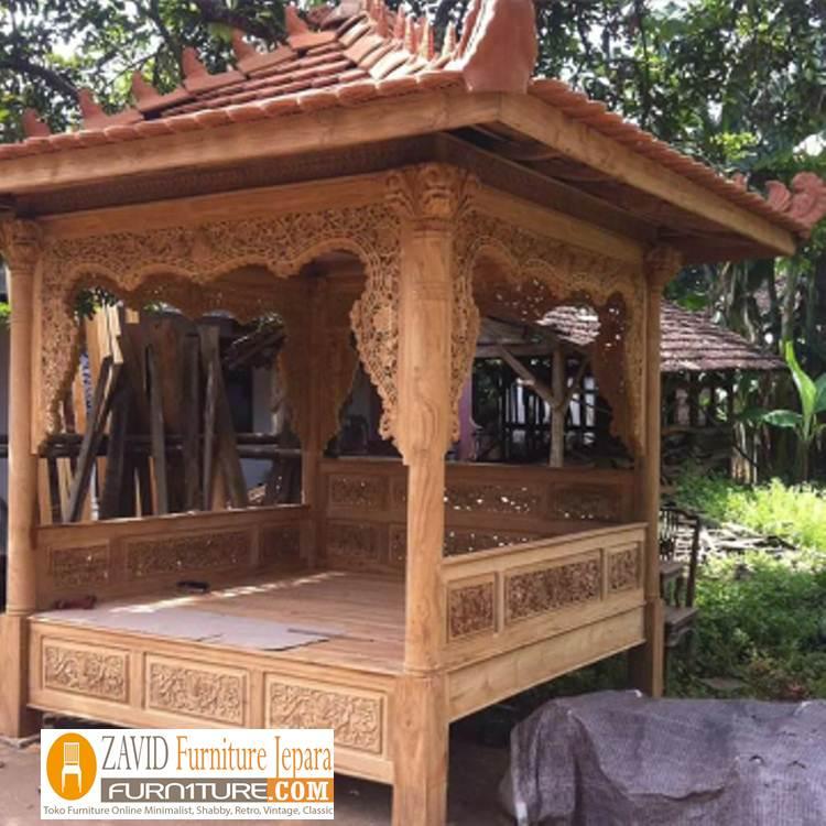 Gazeb-Taman-Ukiran-Kayu-Jati-Terbaru Jual Gazebo Ukiran Kayu Jati Jepara Untuk Taman Rumah