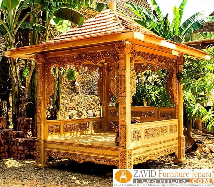 Harga-Gazebo-ukiran-Kayu-Jati-Jepara Jual Gazebo Ukiran Kayu Jati Jepara Untuk Taman Rumah