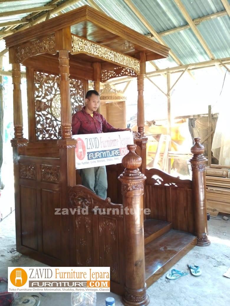 Jual-Mimbar-masjid-ukiran-mewah-kayu-jati-terbaru-area-bekasi Mimbar Masjid Bekasi Podium Kayu jati Mewah | Pesanan Bapak Heri