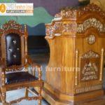 Jual Kursi Mimbar Masjid Kayu Jati Ukiran Minimalis Modern
