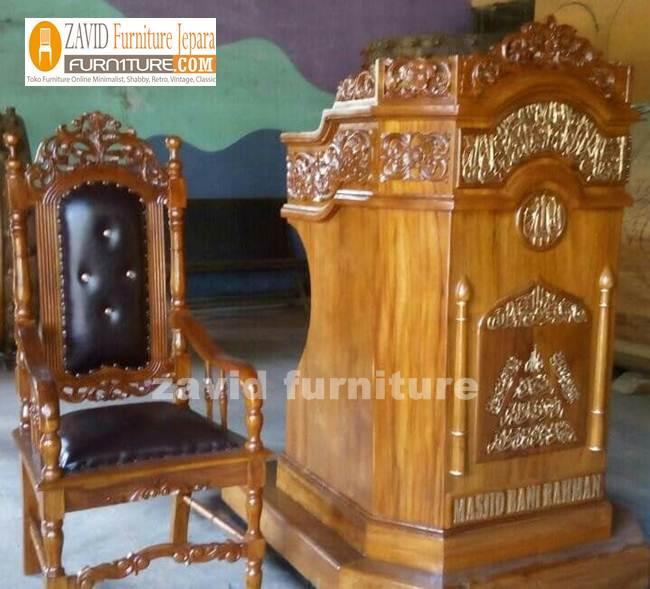 Kursi Mimbar Masjid Kayu jati - Jual Kursi Mimbar Masjid Kayu Jati Ukiran Minimalis Modern