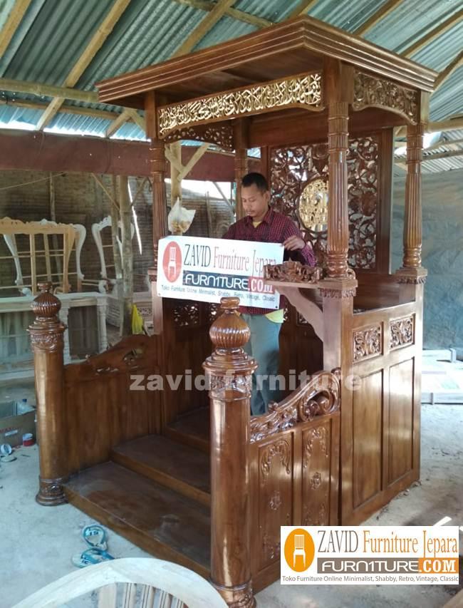 Mimbar-Masjid-Bekasi-Podium-Kayu-jati-Mewah Mimbar Masjid Bekasi Podium Kayu jati Mewah | Pesanan Bapak Heri