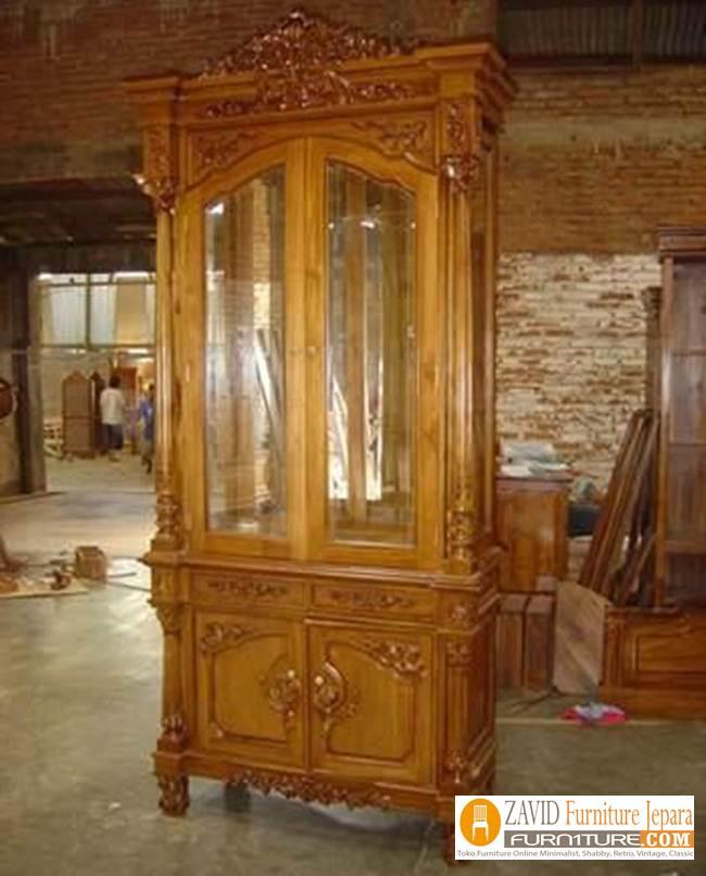 jual-lemari-hias-2-pintu Lemari Hias Kayu Jati Mewah Ukiran 2 Pintu