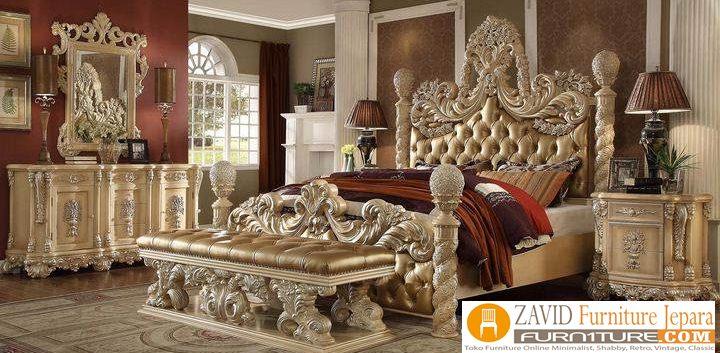 kamar set ukiran - Set Kamar Tidur Ukir Jakarta Mewah Gold Klasik