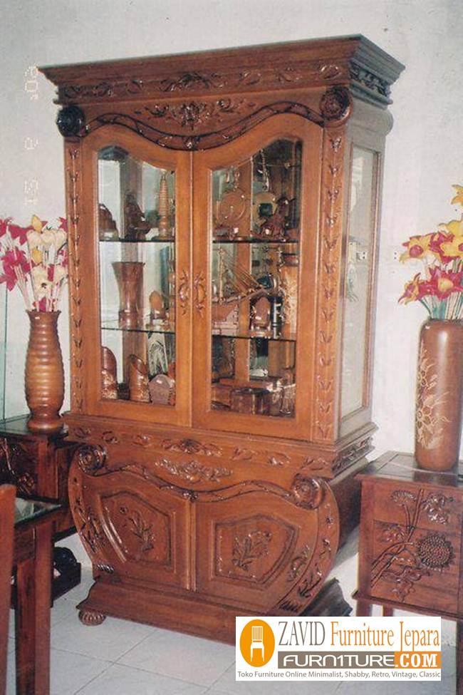 lemari-hias-2-pintu Lemari Hias Kayu Jati Mewah Ukiran 2 Pintu