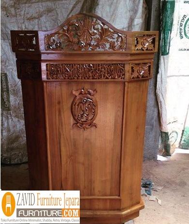 mimbar masjid - Mimbar Masjid Medan Model Podium Ukiran Jati