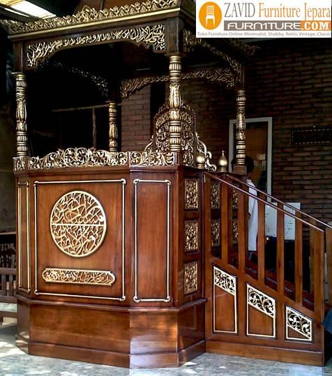 Jual-Mimbar-Masjid-Bogor-Podium-Mewah-Kayu-Jati Jual Mimbar Masjid Bogor Podium Mewah Kayu Jati