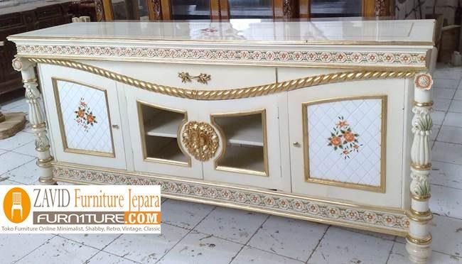 Meja Bufet Tv Lukisan Bunga Mawar Mewah Minimalis - Meja Bufet Tv Lukisan Bunga Mawar Mewah Minimalis