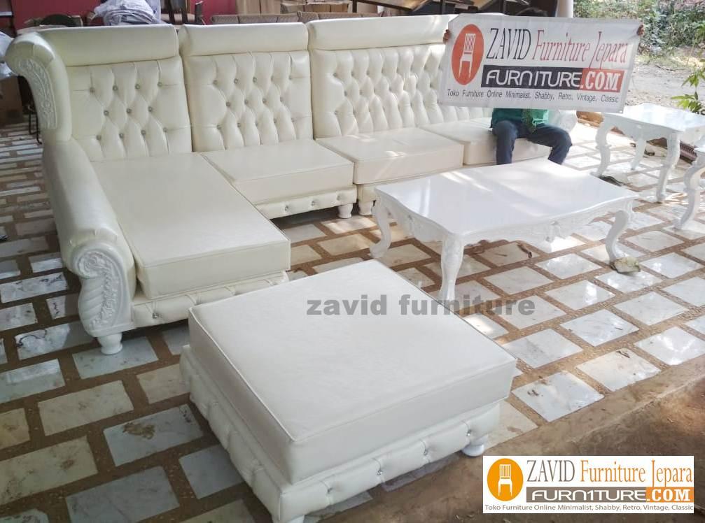 Set-Kursi-Tamu-Sofa-Mewah-model-sudut Kursi Tamu Sudut Sofa Mewah Ukiran Cat Duco