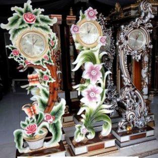 Jual Jam Hias Ukiran Bunga Mawar Mewah Model Terbaru