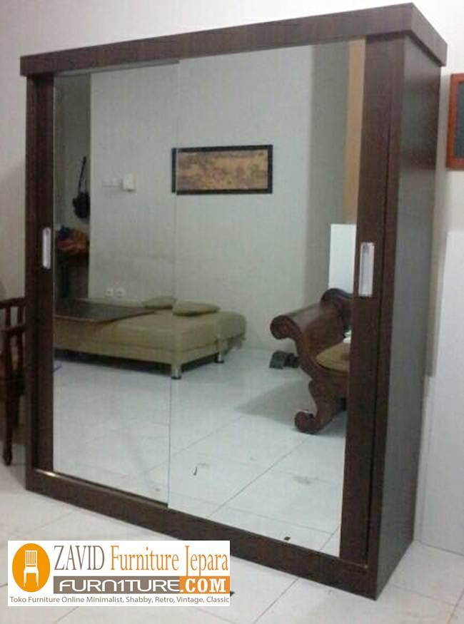 lemari-pakaian-sliding-2-pintu-modern Jual Lemari Pakaian Sliding 2 Pintu Kaca   Lemari Geser Kayu Jati dan Mahoni