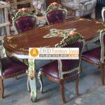 Set Meja Makan Mawar Mewah Ganesha Kayu Jati