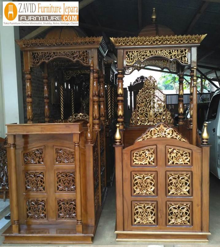 mimbar jati masjid mewah - Jual Mimbar Jati Jepara Ukir-Ukiran Mewah Relief