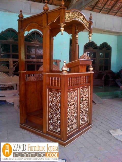 mimbar jati masjid mewah2 - Jual Mimbar Jati Jepara Ukir-Ukiran Mewah Relief
