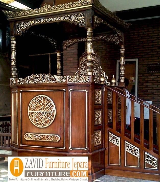 mimbar jati masjid mewah3 - Jual Mimbar Jati Jepara Ukir-Ukiran Mewah Relief