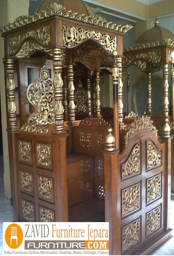 mimbar jati masjid mewah4 - Jual Mimbar Jati Jepara Ukir-Ukiran Mewah Relief