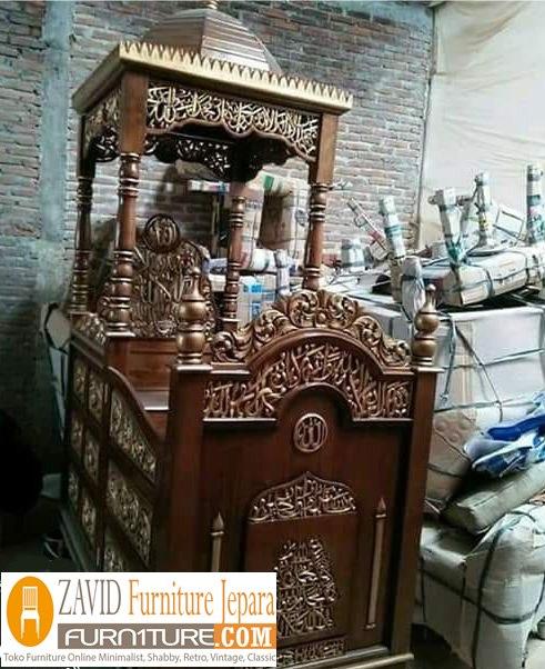 mimbar-masjid-kubah-mewah Harga Mimbar Masjid Kubah Model Minimalis Kubah Ukiran