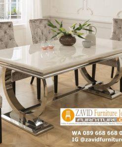 set meja makan marmer modern mewah