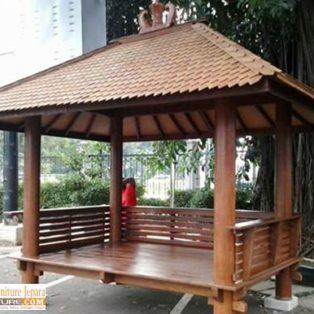 Jual Gazebo Kayu Kelapa/ Glugu Model Minimalis Untuk Taman