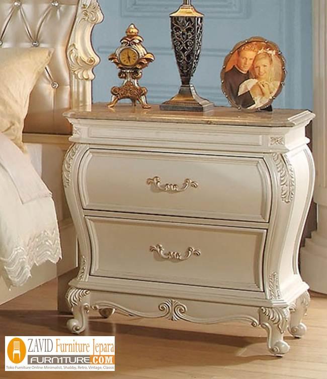 Meja-Nakas-Kamar-Putih-Duco-Klasik-Mewah Meja Nakas Kamar Putih Duco Klasik Mewah