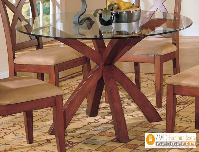 Meja-makan-bundar-kaca Set Meja Makan Kaca Minimalis Sederhana Kayu Jati