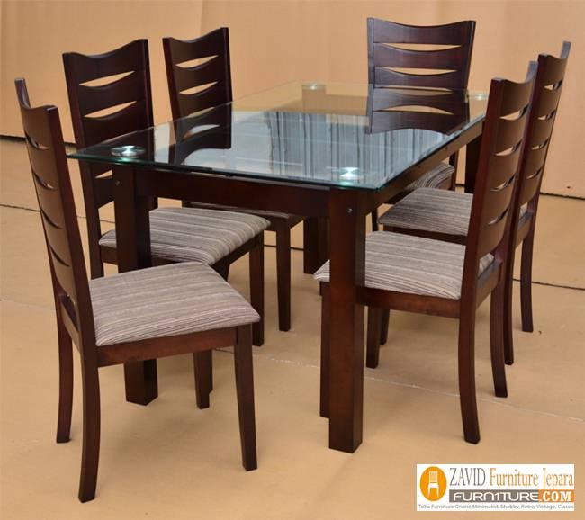 Set-meja-makan-kaca Harga Meja Makan Kotak Minimalis Kayu Jati