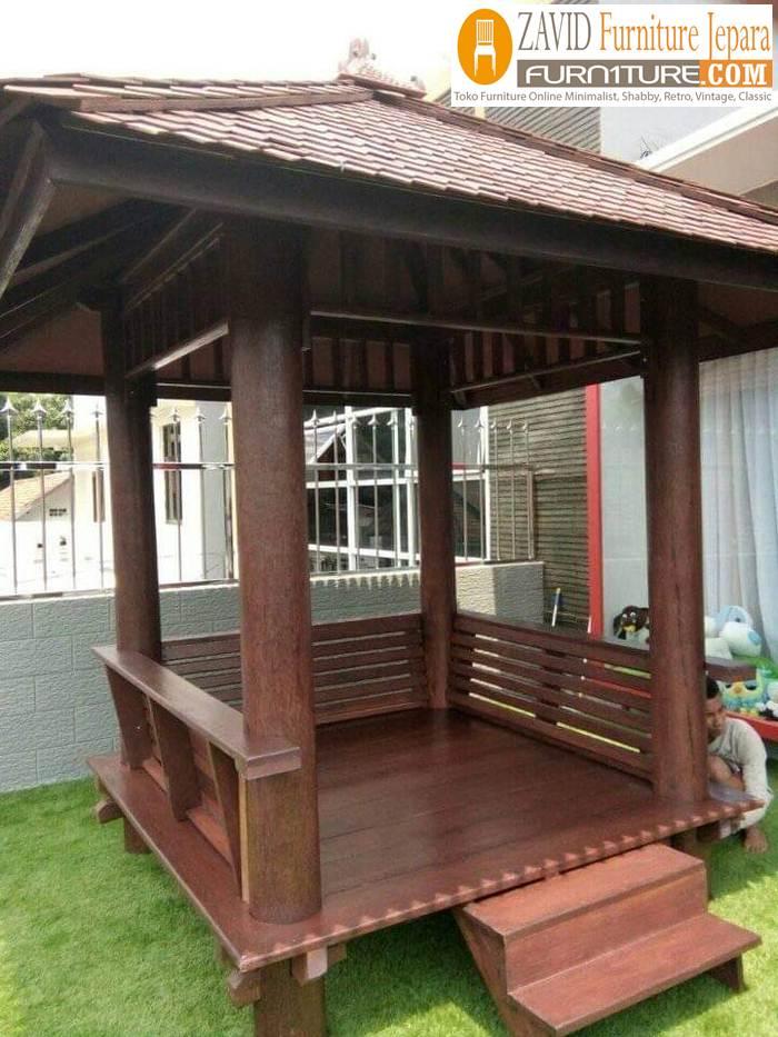gazebo kayu glugu minimalis - Jual Gazebo Kayu Kelapa/ Glugu Model Minimalis Untuk Taman